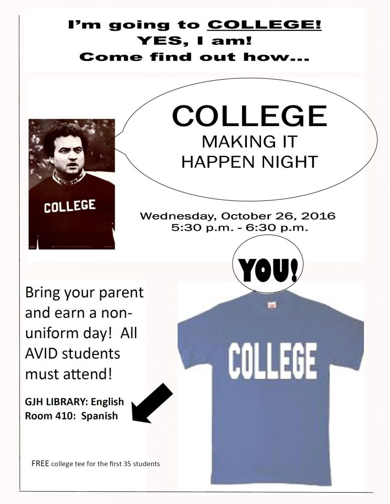 Join us October 26 at 5:30 in the Granger Library to learn about the importance of college!!!!